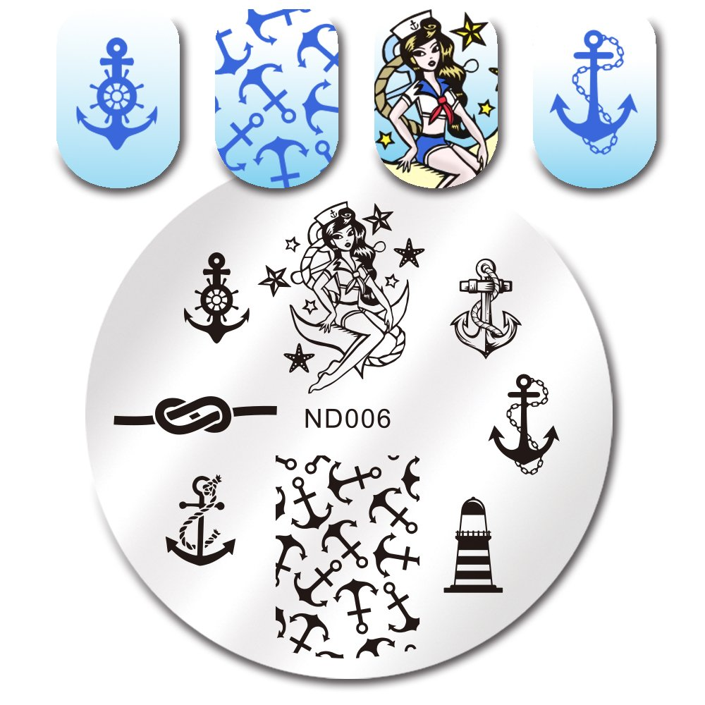 NICOLE DIARY Anchor Nail Art Stamp Template Image Stamping Plate NDP-006 by NICOLE DIARY
