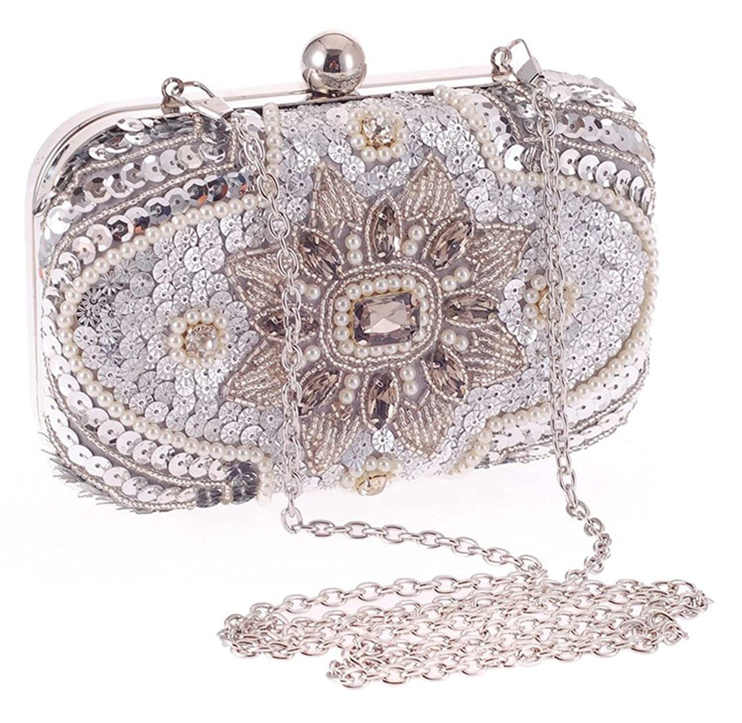 Auspicious beginning Noble Elegant Diamond Chian Clutch Evening Bag Handbag