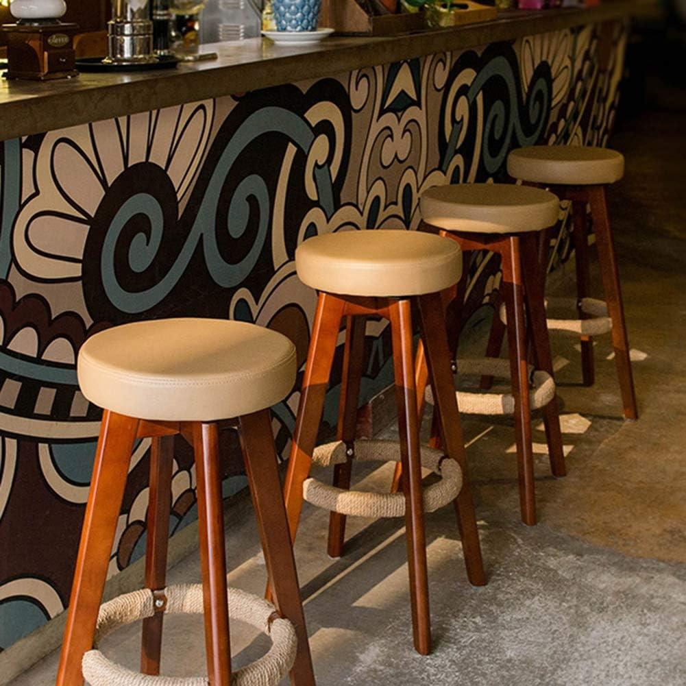 Stools LHA Swivel Bar PU Stoel Massief Houten Bar Stoel Hoog Met Henneptouw Voetenbank Lounge Bar Stoel Teller, 45x45x65,5 Cm Duurzaamheid (Kleur: A) A