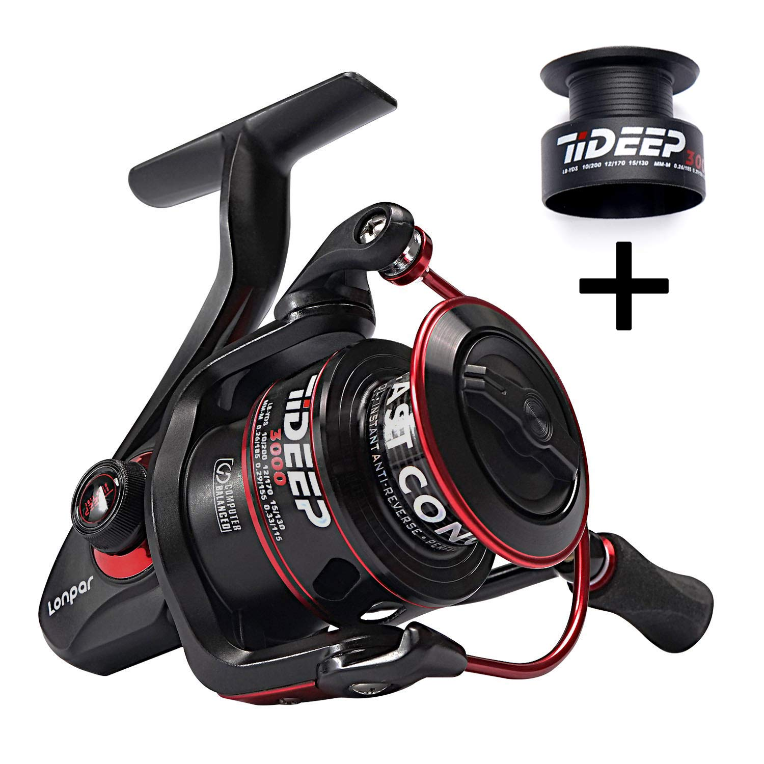 LONPAR Spinning Fishing Reel 7 1 8 1 9 1BB Lightweight Powerful Drag Two Spools Included Selectable Anti-Reverse Right Left Handle Fishing Reel for Saltwater or Freshwater