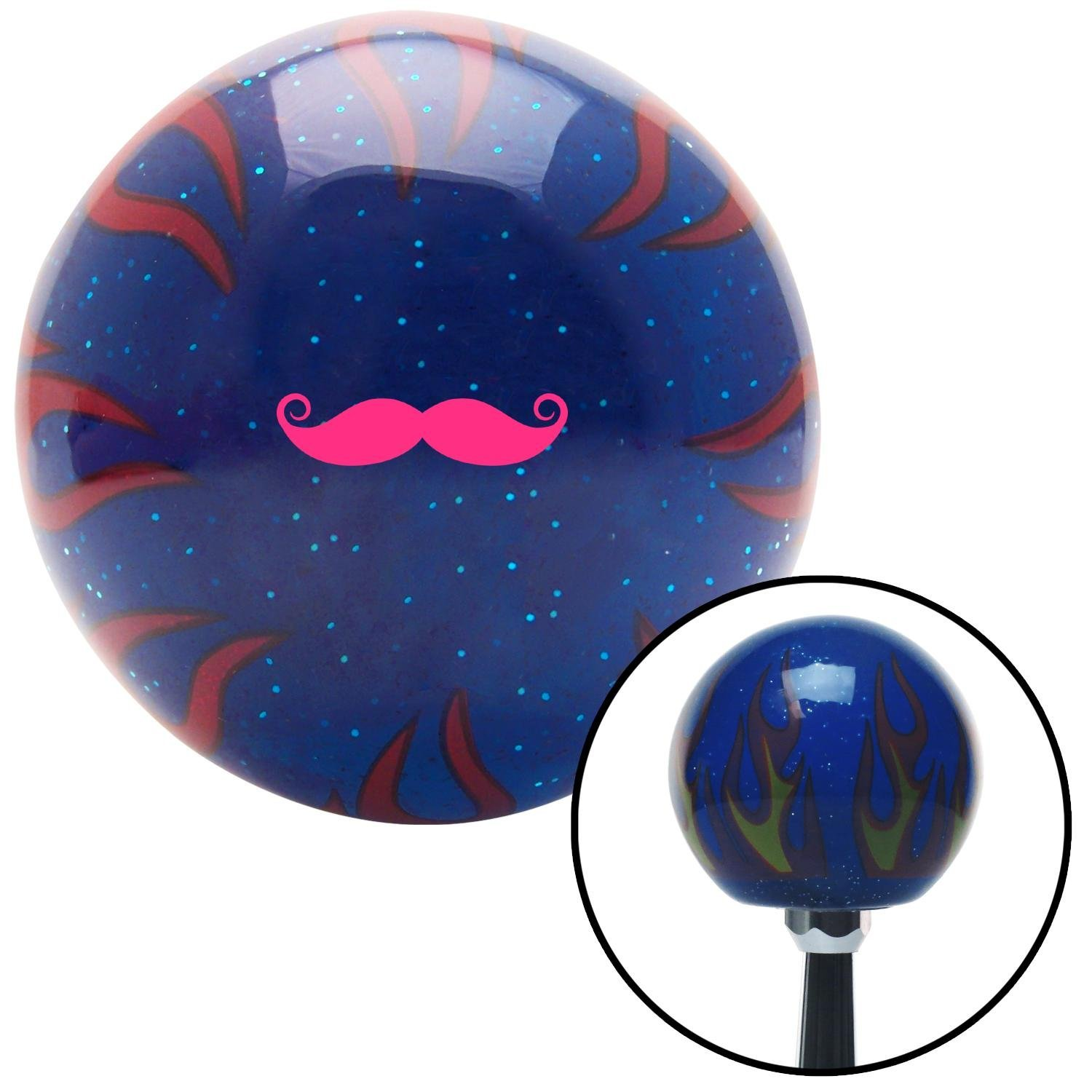 Pink Mustache French Blue Flame Metal Flake with M16 x 1.5 Insert American Shifter 298257 Shift Knob