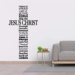 Decals Names for Jesus Christ - Cross - Prince of Peace - Messiah - Living Room - Church - Youth Room - Sunday School Wall Decal