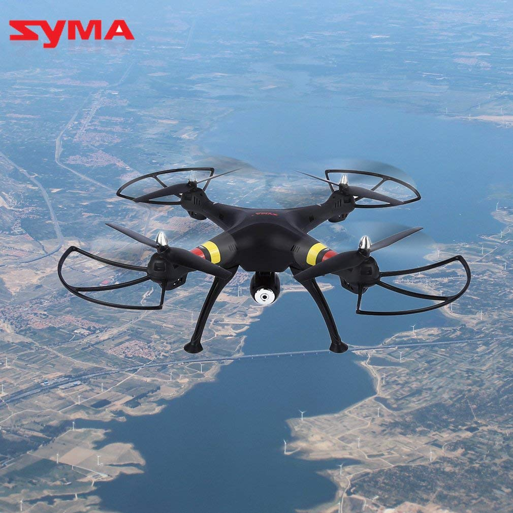 Beacon Pet Syma X8W FPV Real-time 2.4Ghz 4-Channel 6-Axis Gyro Headless Quadcopter Drone with HD WiFi Camera Live Video/Altitude Hold/360° Eversion/Colorful Flashing Lights - Black