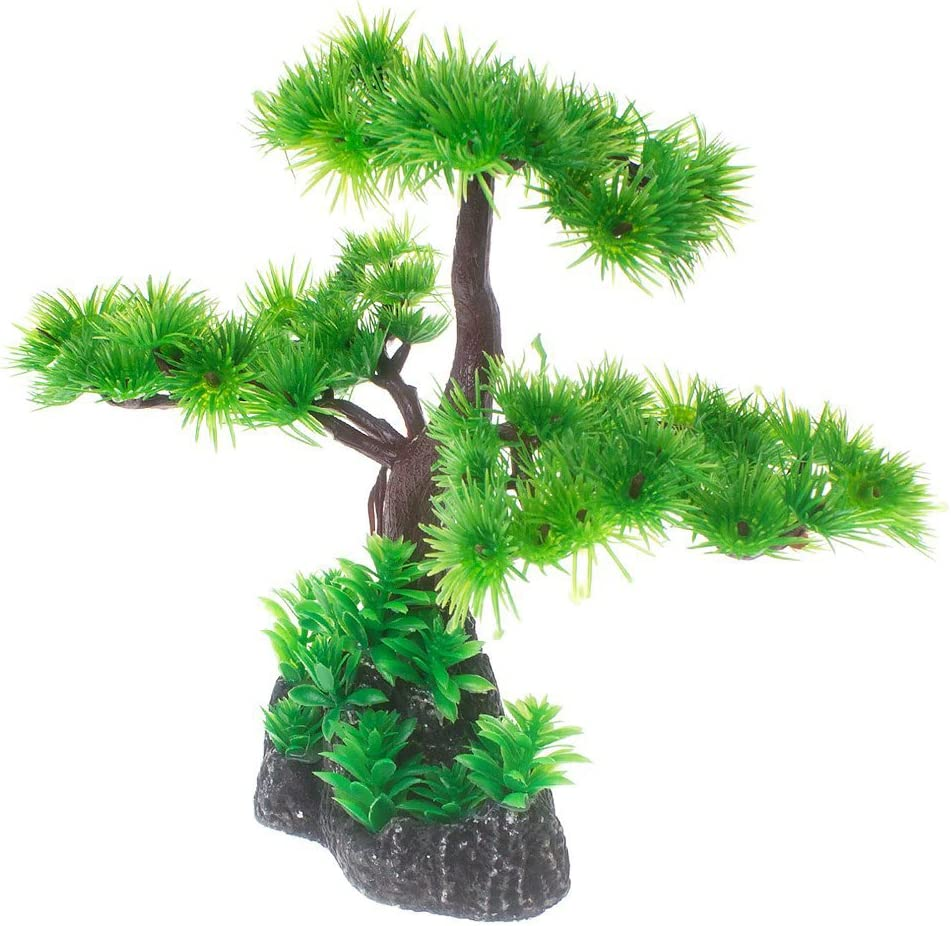 Saim Artificial Pine Tree Plastic Plant Decor for Aquarium Fish Tank Bonsai Ornament Red Green 7