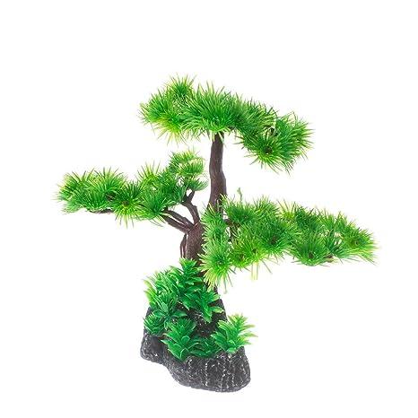 Saim - Árbol de pino artificial de plástico, decoración para acuario, pecera, bonsai
