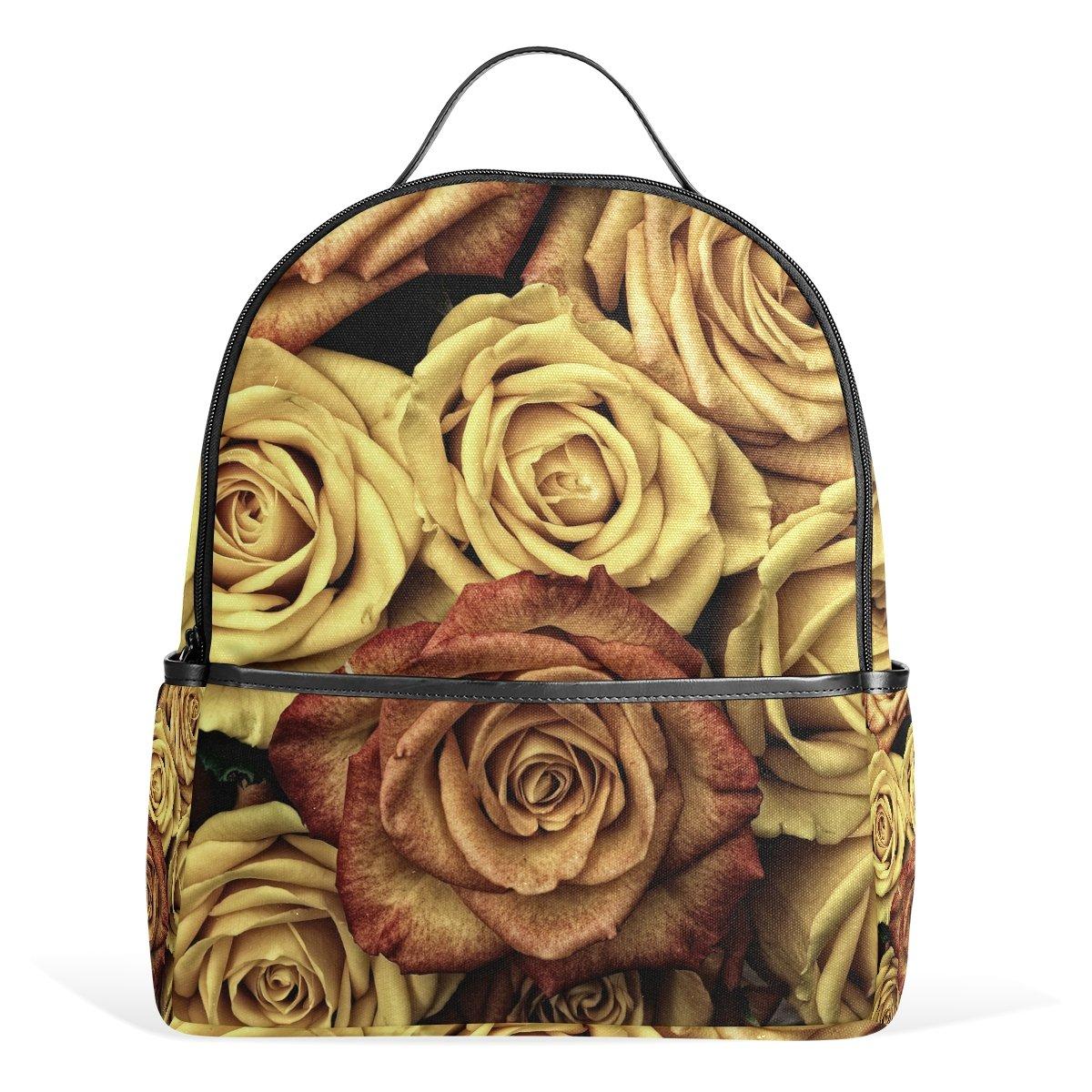 FBTRUST Yellow Rose Flower pattern Casual Backpack School Bag Hiking Travel Daypack 13Inch laptop bag for Boys Teen Girls