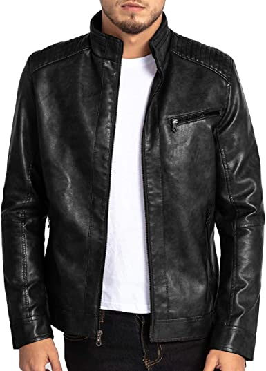Boys Stand Collar Zipper Closure Casual Solid Color Faux Leather Jackets