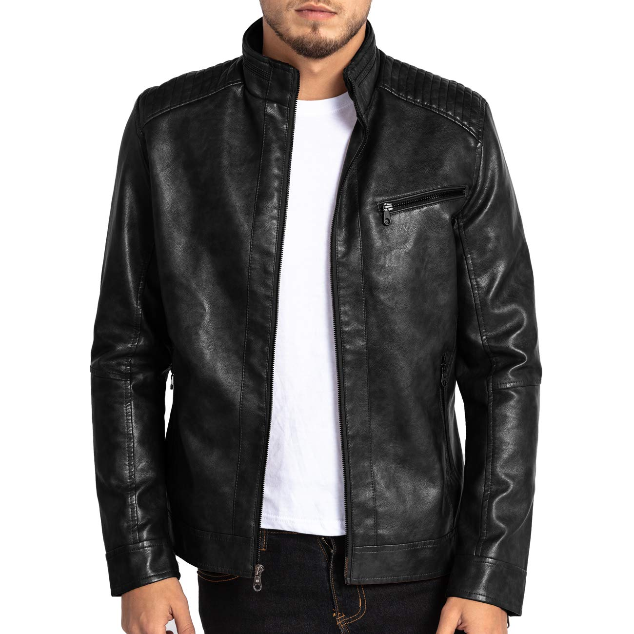 4b568281ed1 MAGE MALE Mens Leather Jacket Slim Fit Stand Collar PU Motorcycle Jacket  Lightweight at Amazon Men's Clothing store: