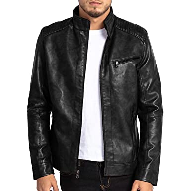0734373e7b3 Image Unavailable. Image not available for. Color: MAGE MALE Mens Leather  Jacket Slim Fit Stand Collar PU Motorcycle Jacket Lightweight