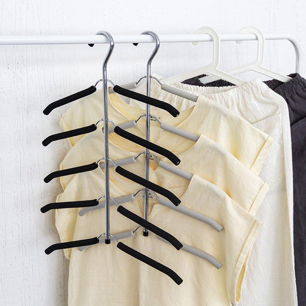 Globalqi Percha multicapa de cinco piezas de esponja antideslizante para ahorrar espacio percha de acero inoxidable multifunci/ón sin costuras ropa se puede colocar verticalmente vertical colgar ropa pantalones