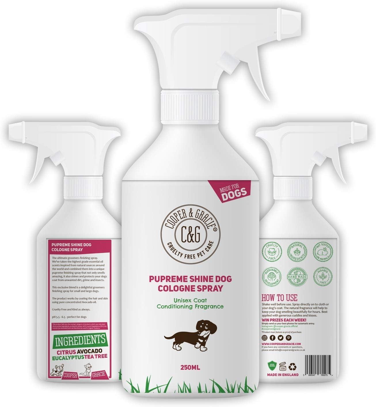 Perfume Pupreme Shine para perros, 250 ml, hojas de pelo de cachorro, súper brillante, una gran colonia hipoalergénica para perros de larga duración, aceites esenciales con cítricos eucalipto