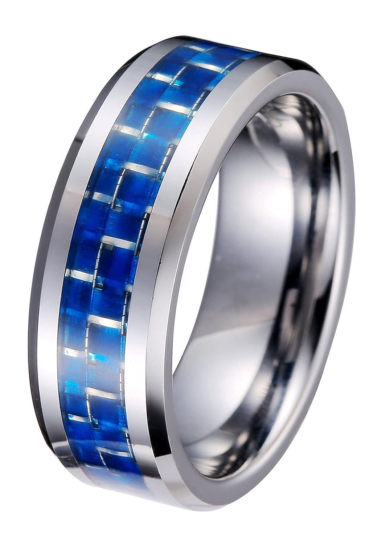 UOKOHO Tungsten 8mm Blue Carbon Fiber Inlay High Polish Men's Wedding Band Ring