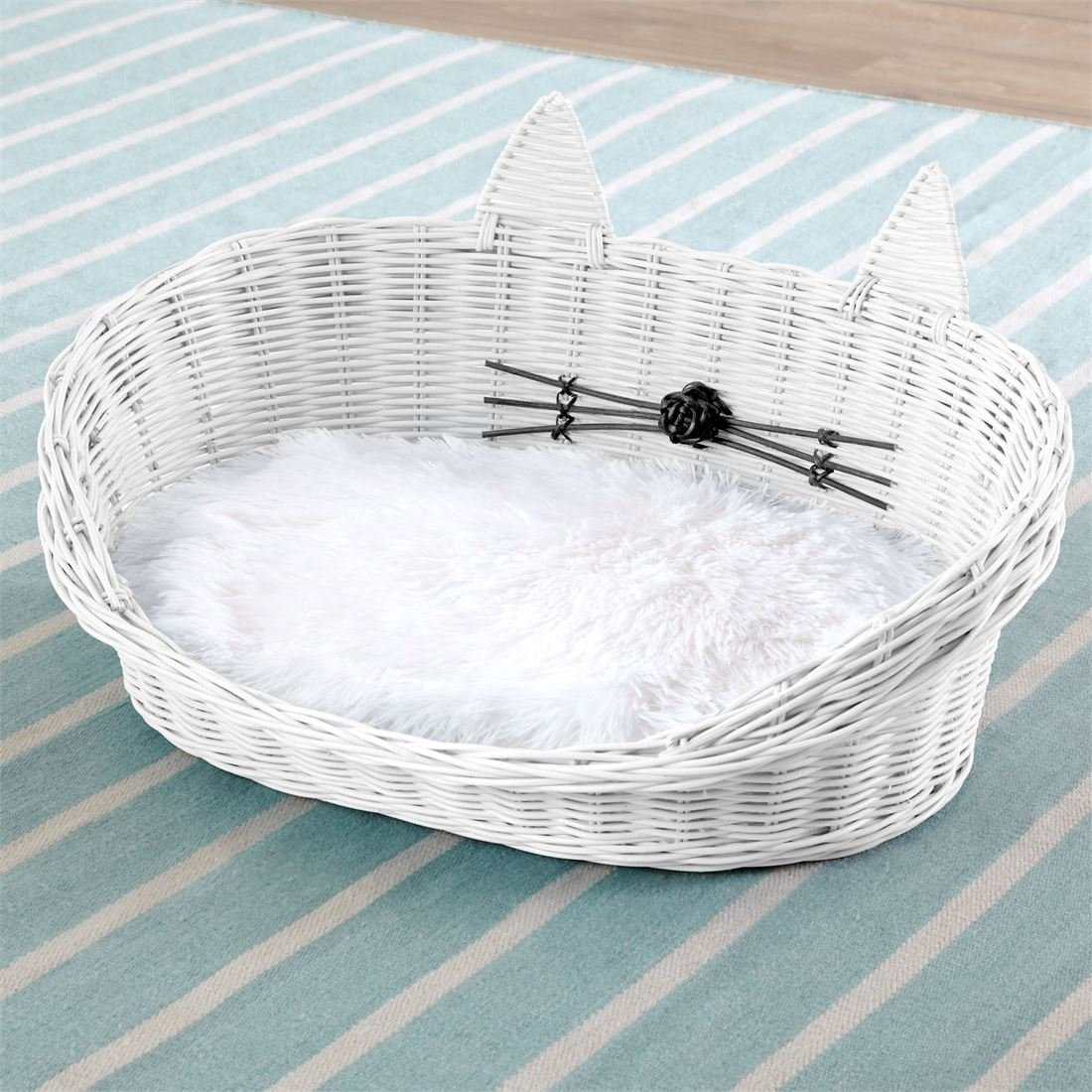 BrylaneHome Cat Ear Rattan Pet Bed (White,0)