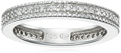 4c0d5fcb747fbe Amazon.com: Sterling Silver Diamond Eternity Band Ring (1/4 Cttw, J ...