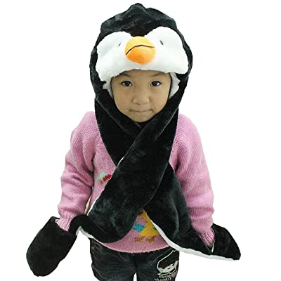 Hee Fly Plush Animal Winter Hats with Paws Type Penguine