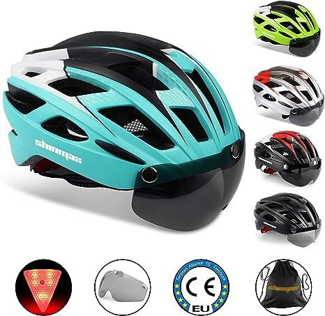 KINGLEAD Casco de Bicicleta con Luz de Seguridad y Visera de Protección, Casco de Ciclo Protegido Unisex Certificado CE para Andar en Bicicleta al Aire Libre Ajustable Superligero: Amazon.es: Deportes y aire