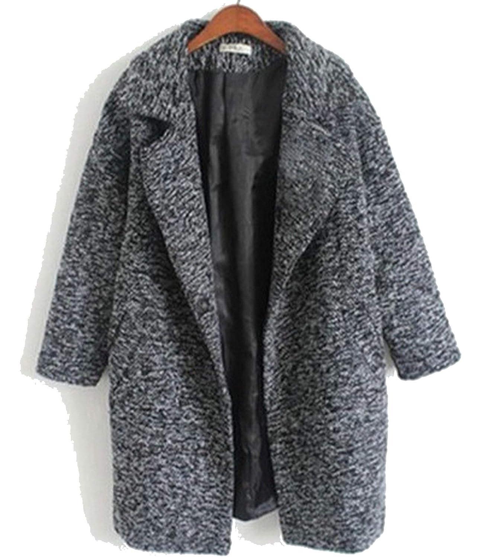 Dark Grey 2018 Fashion Women Autumn and Winter Grey Woolen Coat