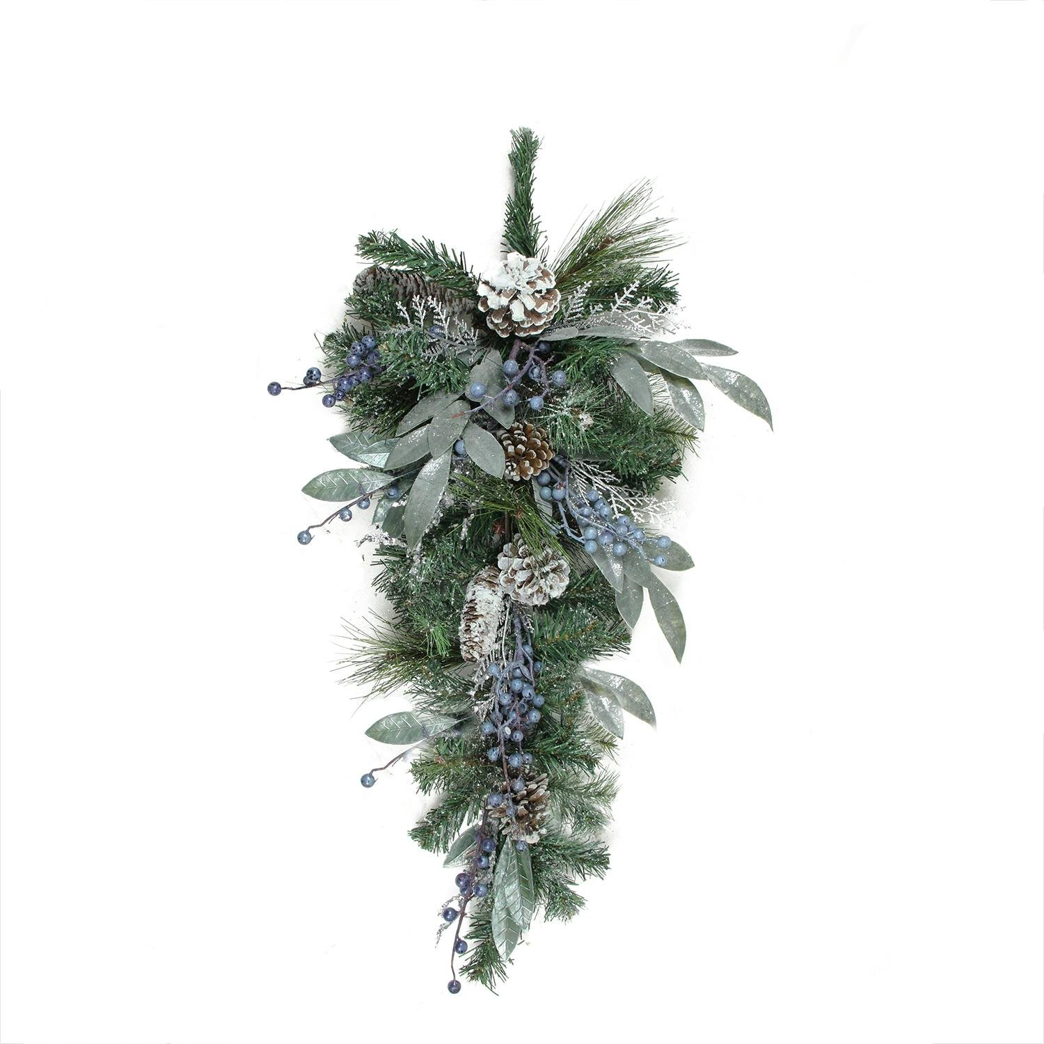 Artificial Snowy Pine Cones & Mixed Berries Christmas Teardrop Swag - ChristmasTablescapeDecor.com