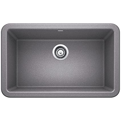Blanco 401778 Ikon Silgranit 30u0026quot; Single Bowl Apron Front Sink,  Metallic Grey