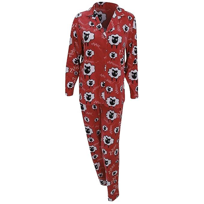 Conjunto de pijama polar con estampado de ovejas de manga larga para mujer (36-