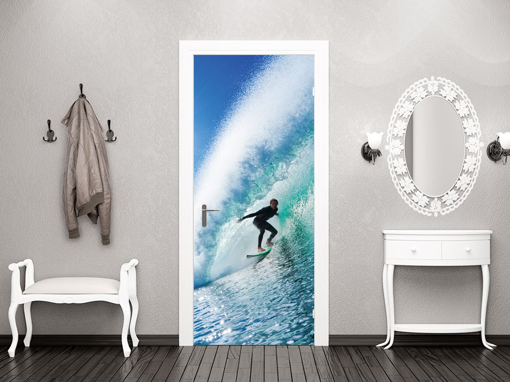GRAZDesign 791122_92x205 Türbild Türaufkleber Tür Deko Türtattoo Wasser Welle Surfer Meer Urlaub (92x205cm//Cuttermesser)