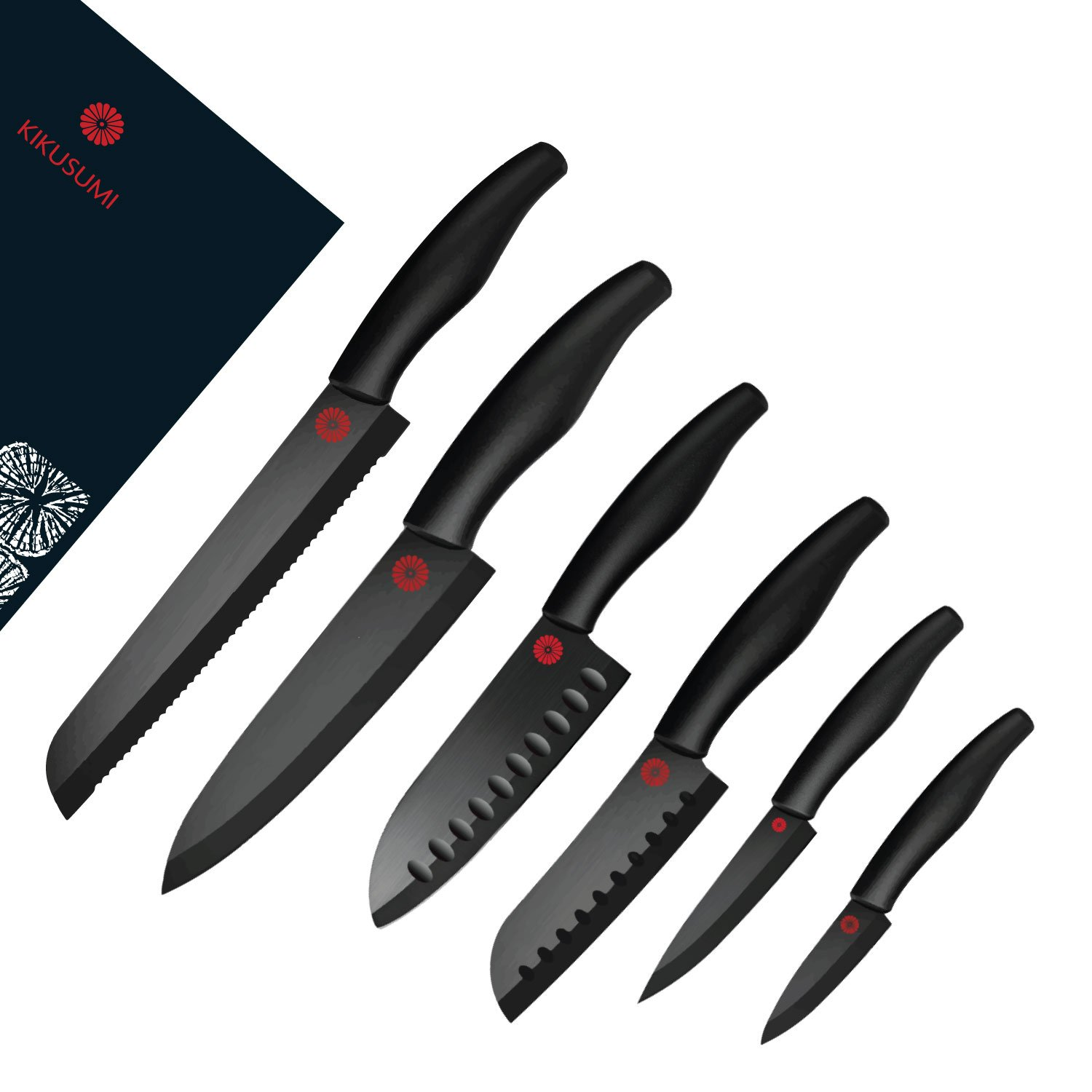 Kikusumi 6-Piece Chef Knife Gift Set Bundle -SUMI Black Handle + Black Ceramic Blade - 7 inch Chef Knife + 5.5 inch Santoku + 5 inch mini Santoku + 4 inch Paring + 3 inch Paring + 6 Sheath (Black)