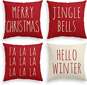 AVOIN Christmas Saying Throw Pillow Cover, 18 x 18 Inch Merry Christmas Jingle Bells Hello Winter FA La La Holiday Cushion Case Decoration for Sofa Couch Set of 4