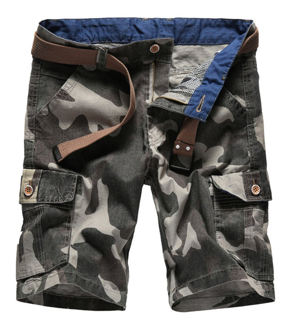 Yollmart Men's Casual Army Cargo Combat Camo Camouflage Sports Shorts Pants Green US30/Tag34