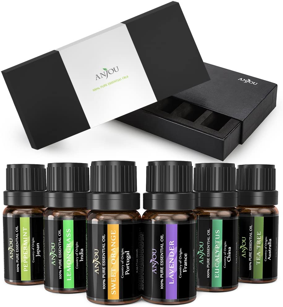 Anjou Therapeutic Grade Aromatherapy Essential Oils Set, 100 Percent Pure, 6 Pack, 10ml - Lavender, Tea Tree, Eucalyptus, Lemongrass, Orange, Peppermint