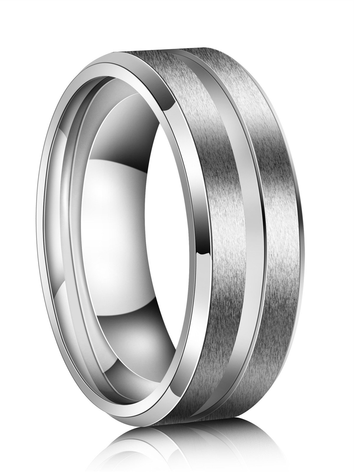 Just Lsy 8mm Titanium Rings for Men Women Beveled Edges High Polished Grooved Center/Matte Finish Wedding Band in Comfort Fit Size 10 Lsy-004 by Just Lsy (Image #2)