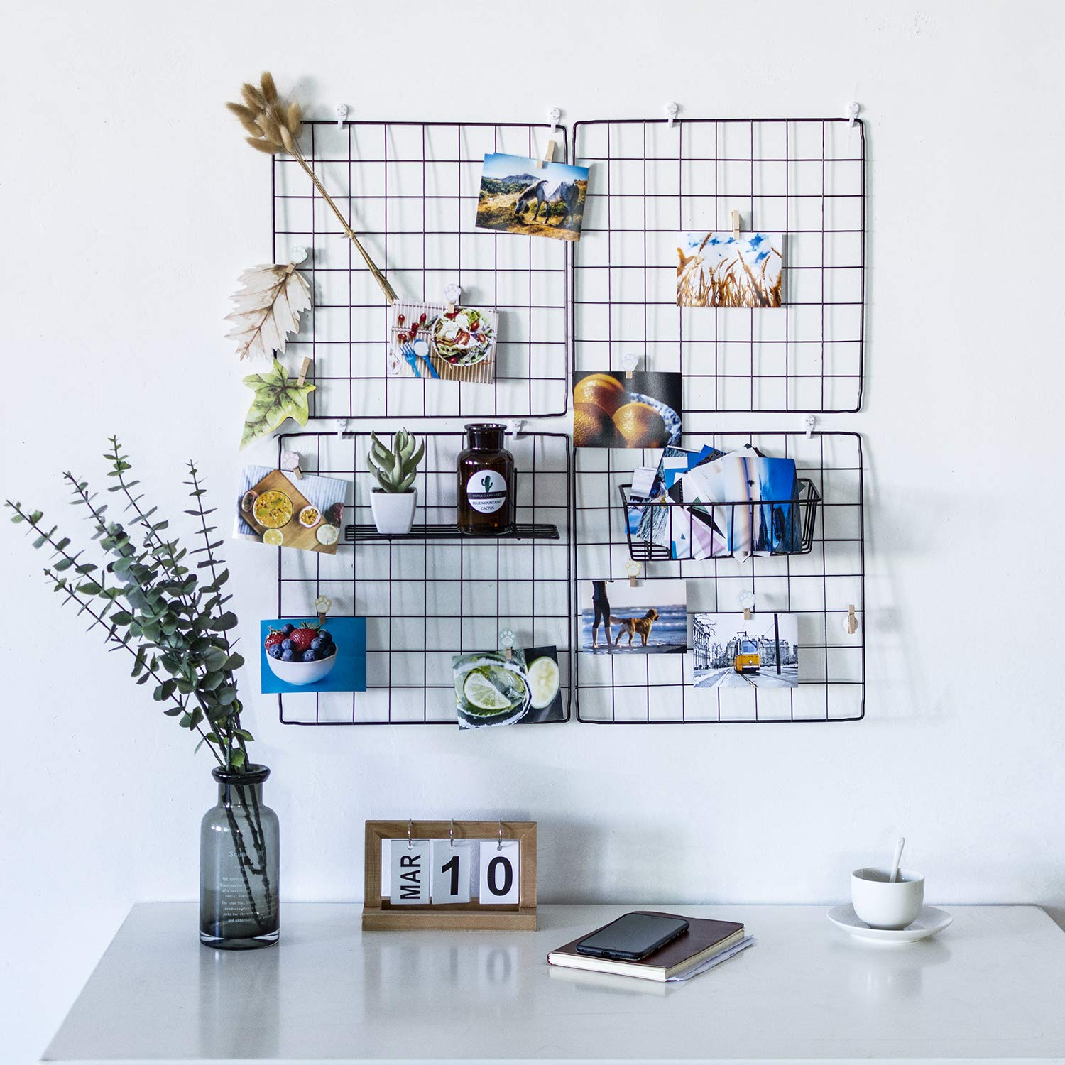 DS Grid Photo Wall Wire Grid Panel Picture Display Iron Decorative Rack Photograph Wall ,Ins Display Photo Wall, 14x14 Inches Set of 4 (Black)