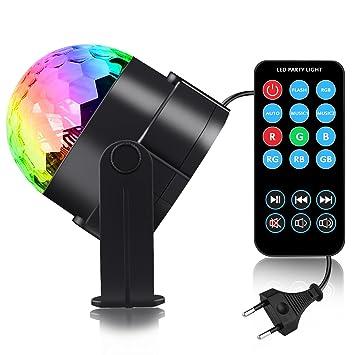 Discokugel LED Party Lampe Beleuchtung Mit Fernbedienung   Spriak 7 Farbe  RGB Dj Licht Mit 3W