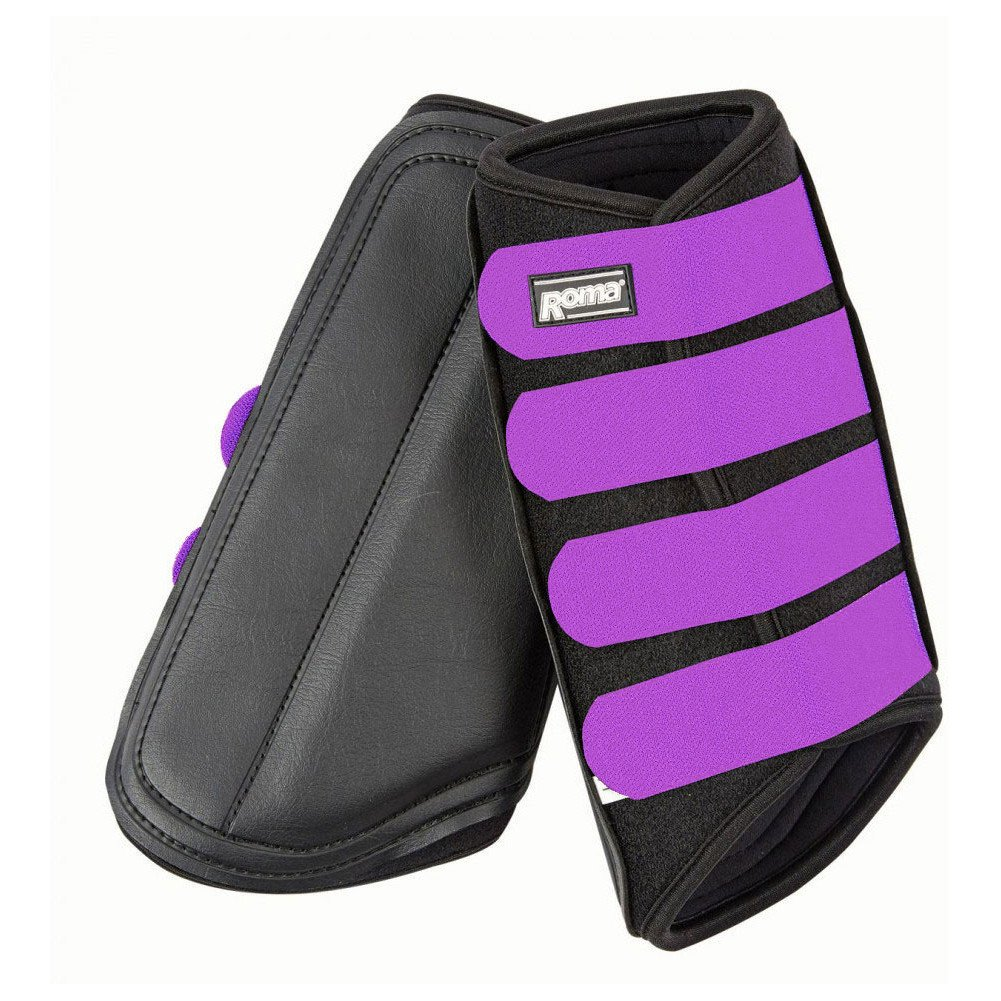 Roma Neoprene Brushing Boots Black/Purple Pony
