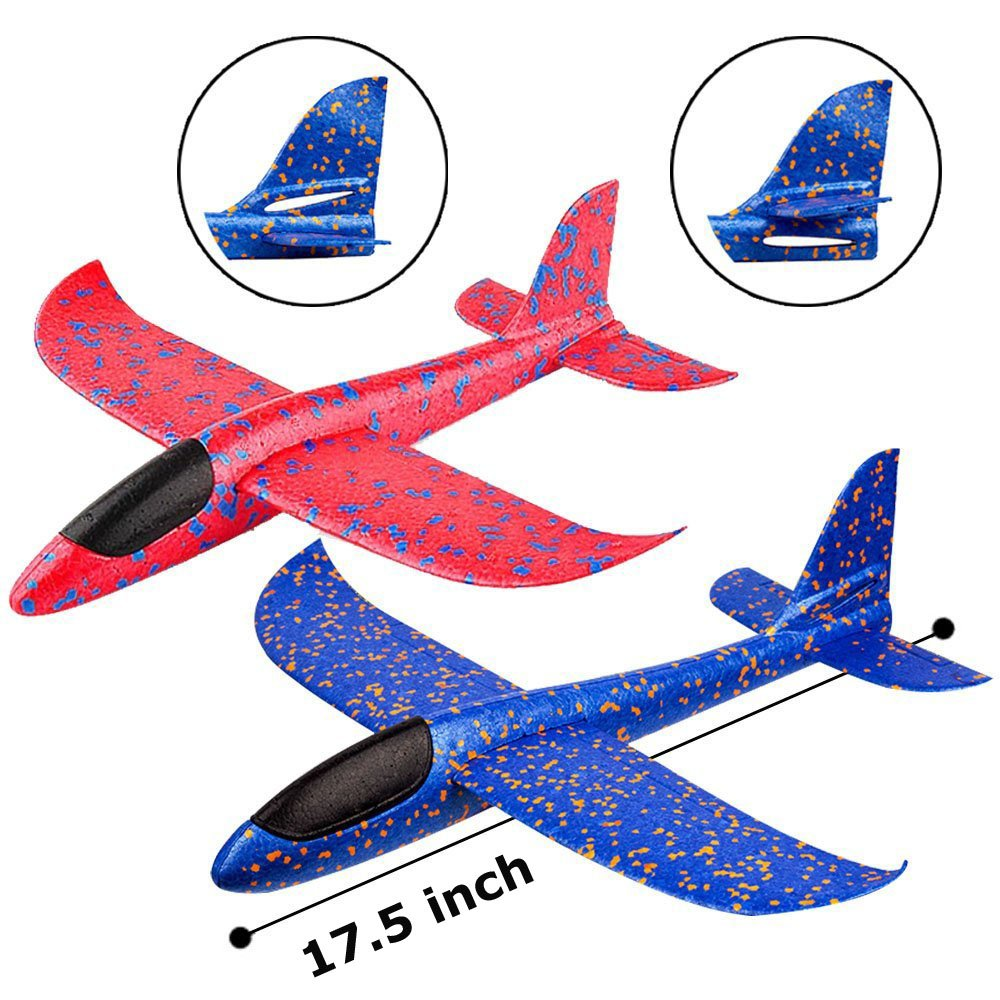 2pcs Throwing Foam Airplanes 17.5 inches 2 Flight Mode Glider Inertia Planes Model Outdoor Sports Hand Launch EPP Flying Aircraft Fun Toy Gift for Kids Children Boys Girls BooTaa