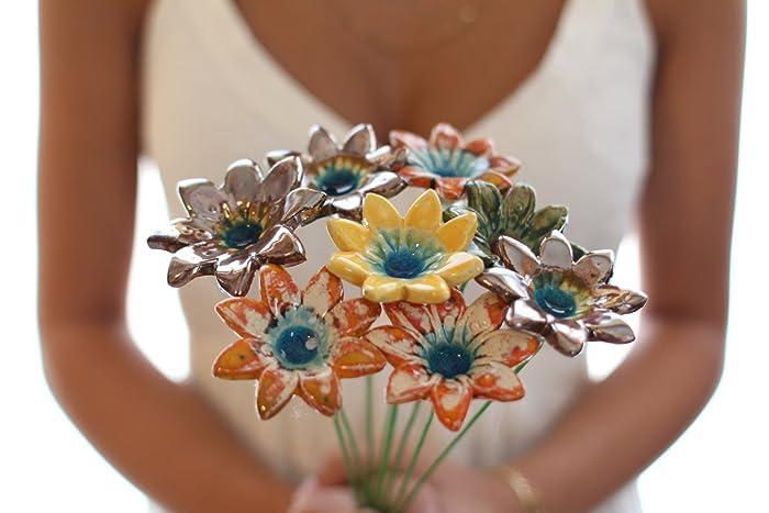 Amazon.com: Handmade Ceramic Flowers, Home Decor, Table ...
