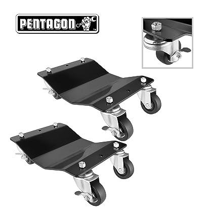 "Pentagon Tools 5061 Tire Skates 2 Tire Wheel Car Dolly Ball Bearings Skate 12/"""