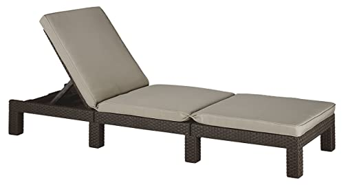 Keter Daytona Sunlounger - Brown with Taupe Cushion