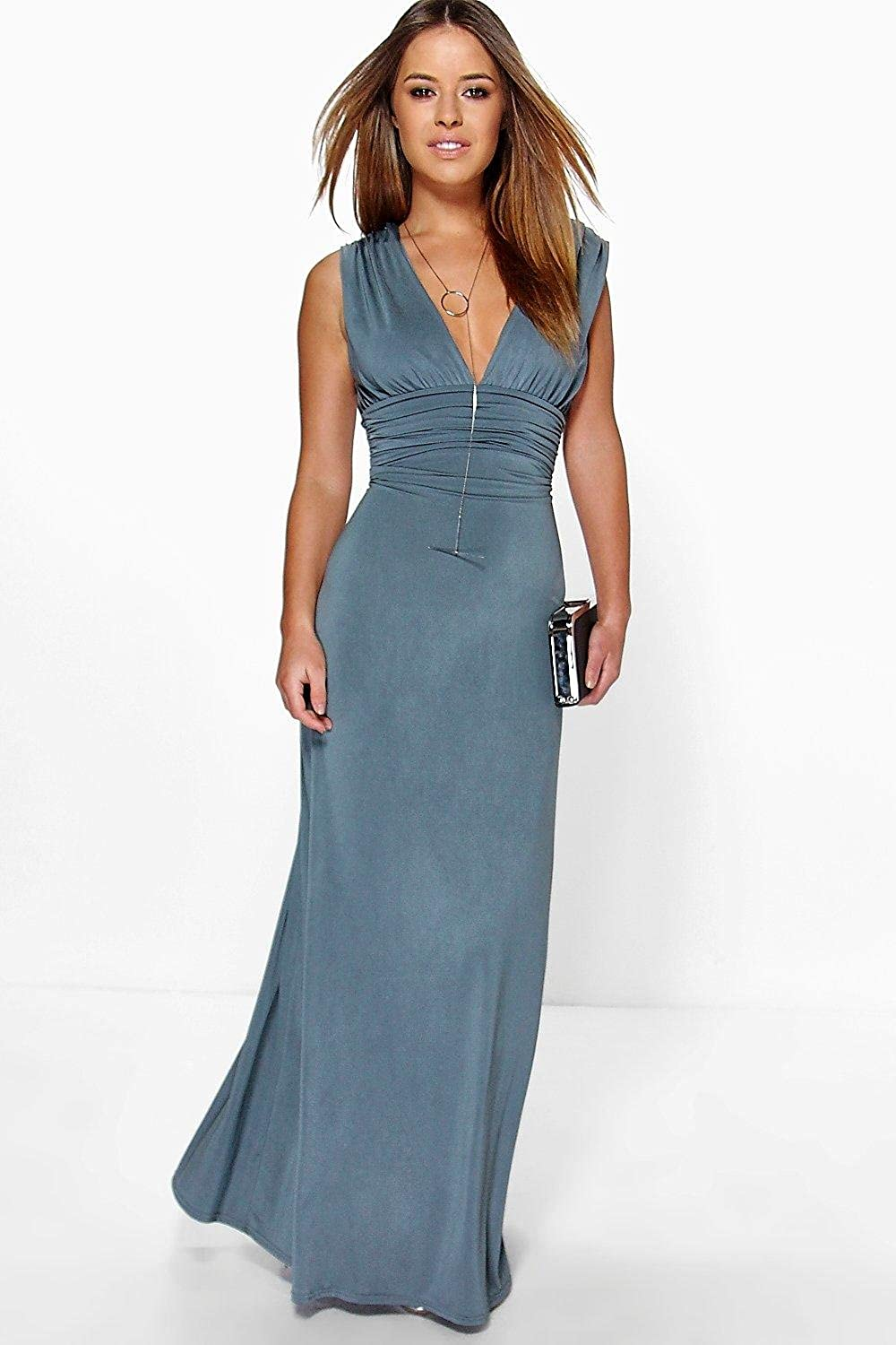 Boohoo Womens Petite Donna Plunge Ruched Maxi Dress at Amazon ...