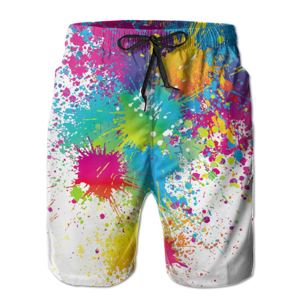 Xuwu Paint Abstract Pie Drive Away The Summer Hot Men's Funny Swim Trunks Casual Shorts