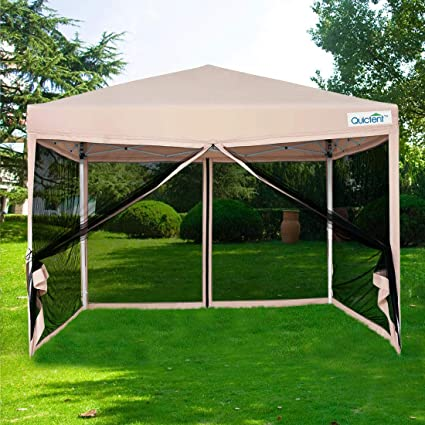 Amazon.com & Quictent 8x8 Ft Easy Pop up Canopy with Netting Screen House Tent Instant Set up with Mesh Sides Walls (Tan)