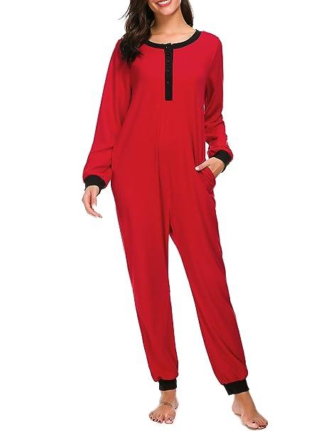 Amazon.com  M-anxiu Onesie Womens Non Footed Pajamas One Piece Adult  Sleepwear Jumpsuit S-XXL  Clothing a66ff827fe