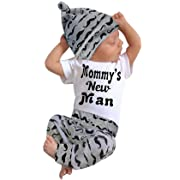 Happy Town 3Pcs Set Baby Outfits Newborn Boys Letter Rompers Jumpsuit Tops Pants Clothes (White, 12-18 Months) (White#1, 0-6 Months)