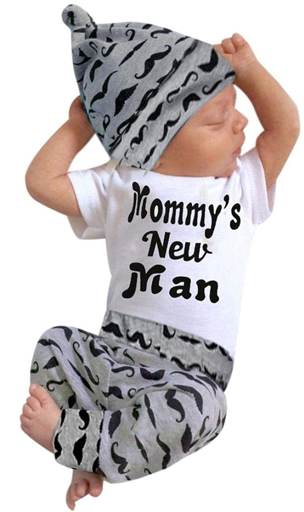 3Pcs Baby Boy Clothes Mommy's New Man Print Bodysuit Summe Cotton Short Sleeve Romper Moustache Pants+Hat Outfits Set