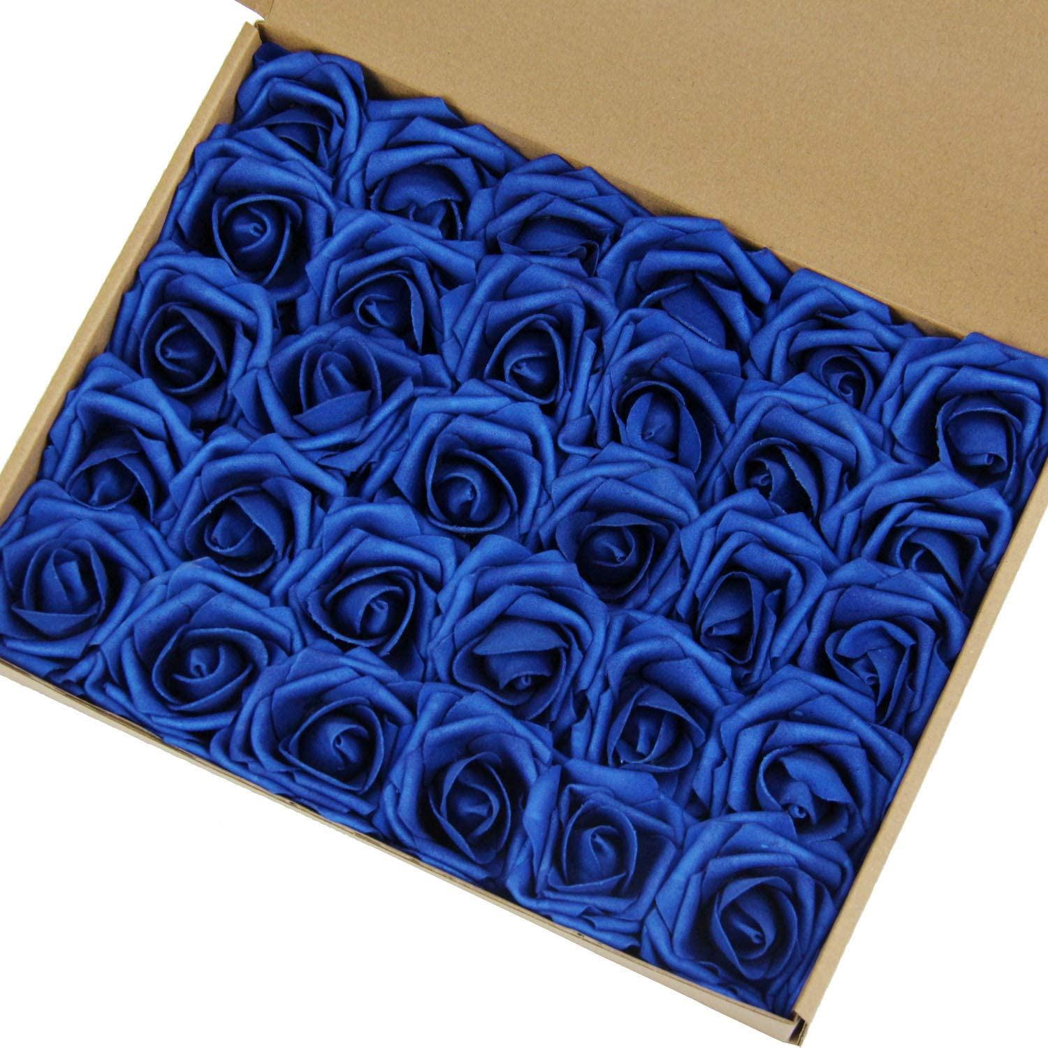 MACTING Artificial Flower Rose, 30pcs Real Touch Artificial Roses for DIY Bouquets Wedding Party Baby Shower Home Decor(Darker Royal Blue)