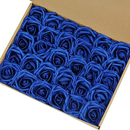 Marry Acting Artificial Flower Rose, 30pcs Real Touch Artificial Roses for DIY Bouquets Wedding Party Baby Shower Home Decor … (Darker Royal Blue)