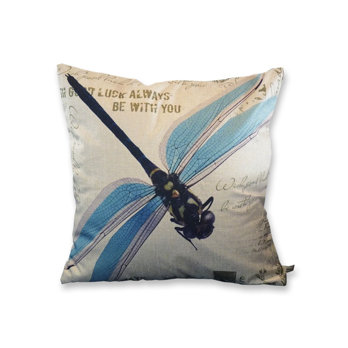 Onway 18 X 18 inch Cotton Linen Retro Vintage Home Decorative Indoor/Outdoor Throw Cushion Cover Pillowcase Sham Blue Dragonfly JIAXING HONGRUI MACHINERY CO. LTD