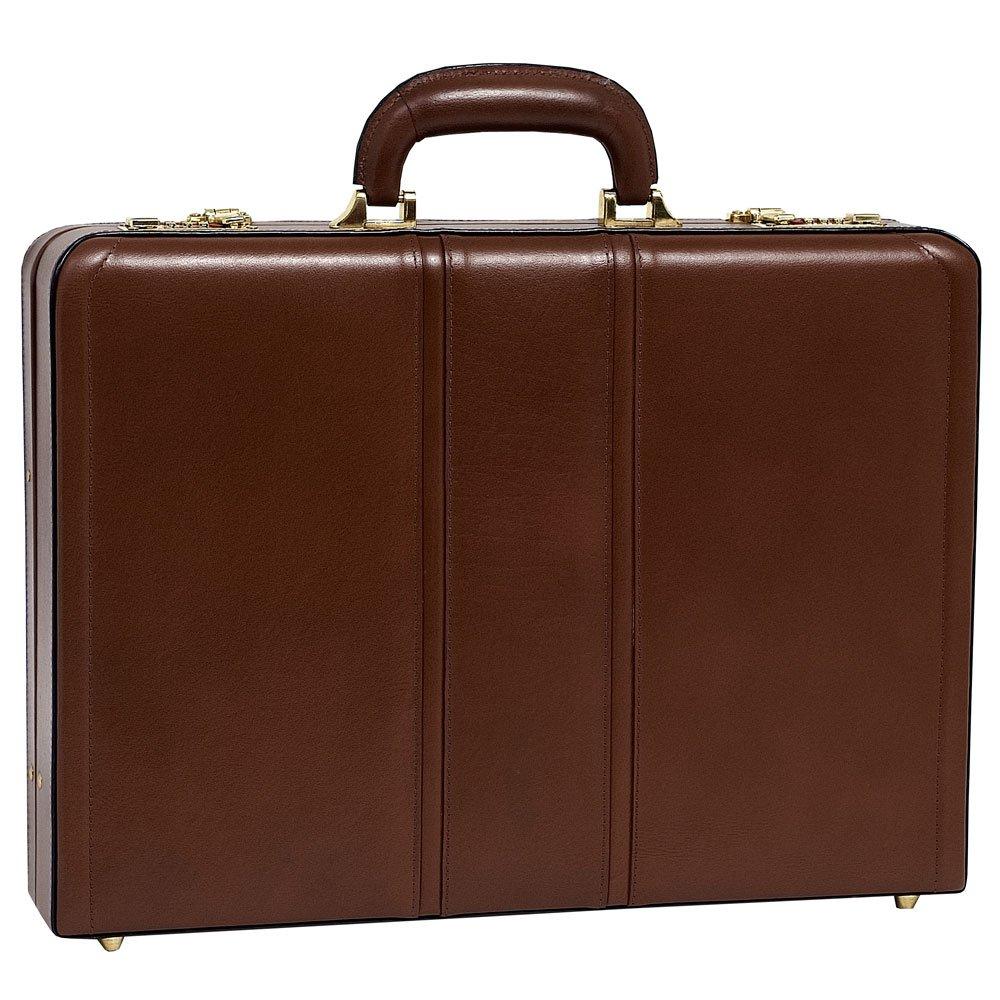 McKlein USA Daley Slim Attache Case V series Leather 18'' Briefcase in Brown by McKlein USA