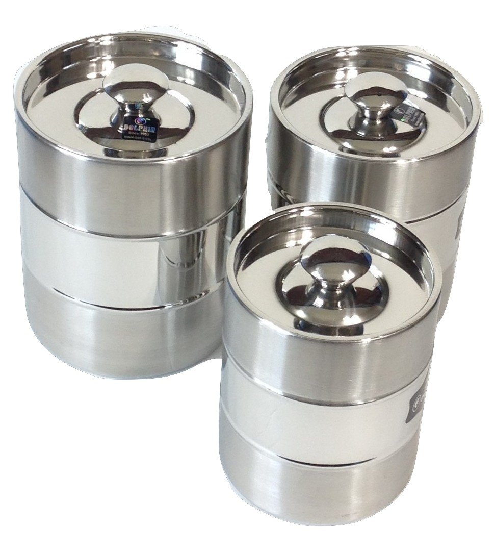 Details about Qualways Jumbo Stainless Steel Kitchen Canister Set of 3,  Canisters 3 LB, 2.5 LB