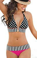 Niveltm Sexy Boho 2pcs Bikini Set Polka Dots Striped Halterneck Swimwear