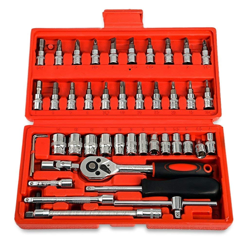 46-Pcs 1/4 set of sockets and bit set - Bit with reversible ratchet socket wrench handle-swivel mechanism and extension cord - Solid storage case, chrome vanadium - For car or bicycle and garage repai